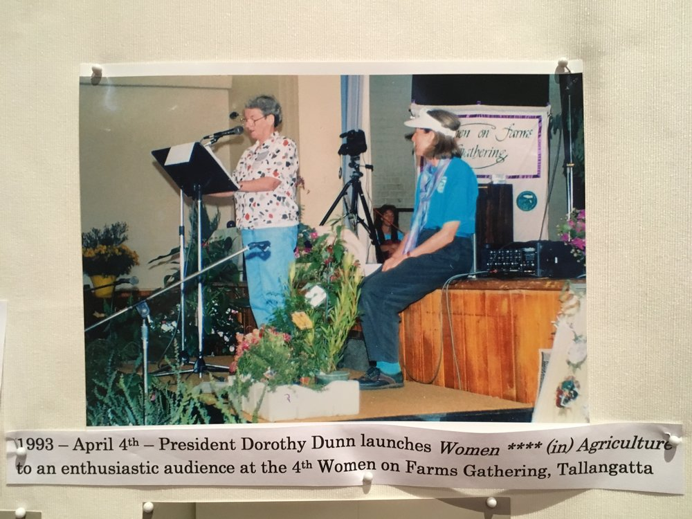 Inaugural AWiA president Dorothy Dunn launching AWiA at the 1993 Tallangata Women on Farms Gathering. Photo: this photo was displayed in the conference foyer during the AWiA conference weekend, 17-19 August 2018.