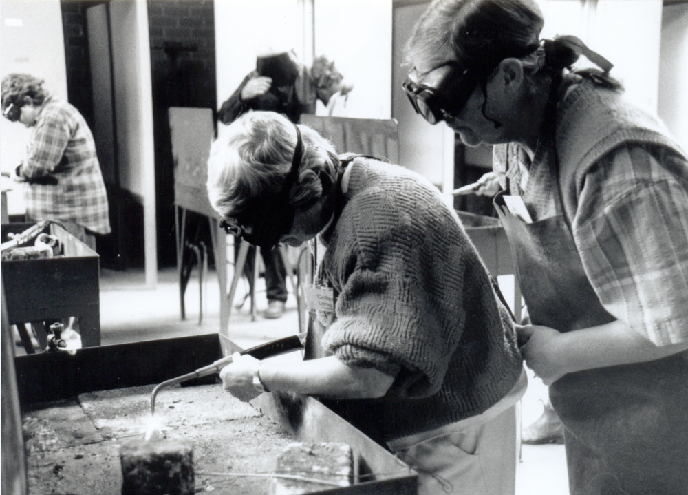 An image from the Rural Women's Movement: women at a welding workshop during the 1994 Glenormiston Women on Farms Gathering, Victoria, Source: Museums Victoria: https://collections.museumvictoria.com.au/articles/4342