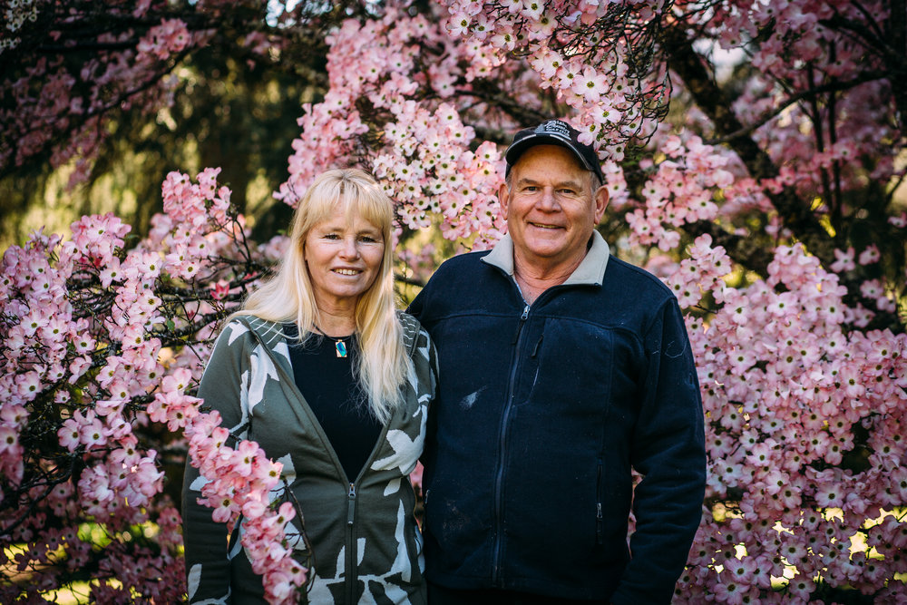 Sally Hall with her husband Peter Hall on their trout farm, Mountain Fresh Trout and Salmon Farm, Harrietville (Victoria), Spring 2018, Photographer: Catherine Forge.