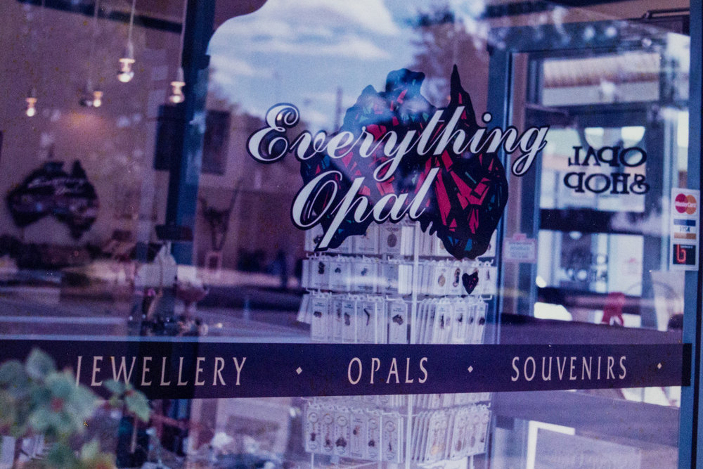 "The shopfront window of Sally's jewellery outlet, ""Everything Opal"", Lightning Ridge, 1998, Image: supplied by Sally Hall."
