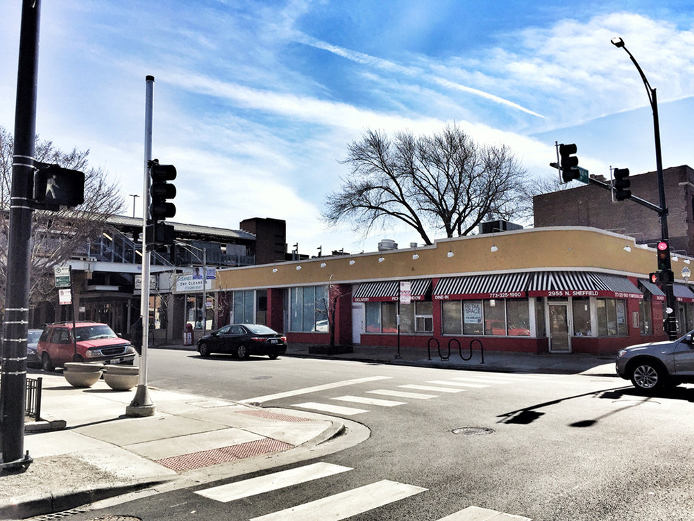 The site of the old Cubanacan on Wellington Avenue and Sheffield Avenue in Lake View, Chicago, IL.