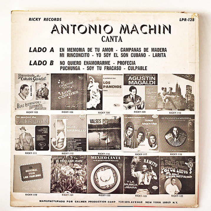 Antonio Machin, back cover