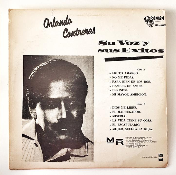 Orlando Contreras, Su Voz y Sus Exitos, back