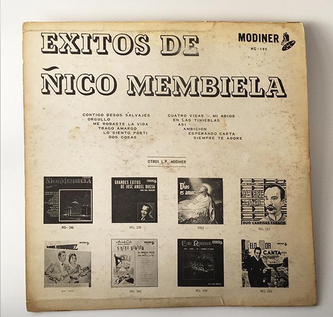 Ñico Membiela, Exitos de (Contigo Besos Salvajes), back