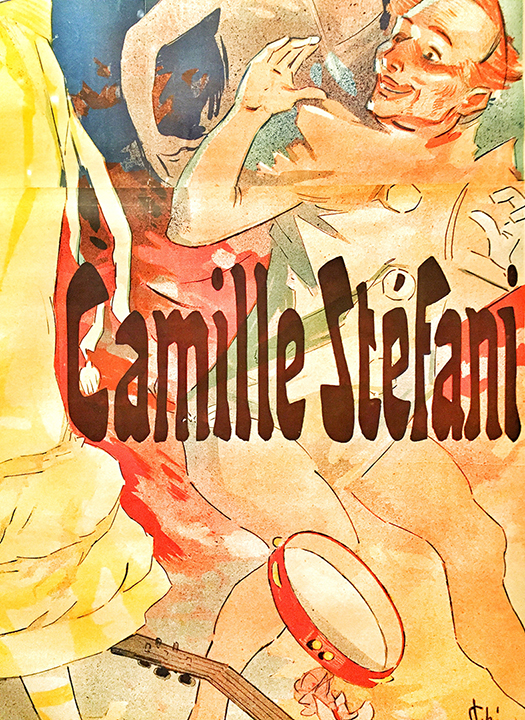 Detail of Casino De Paris, Camille Stefani, Concert Bal, 1891. Beautiful typography of the Belle Epoque (Golden Age) period, where art, fashion, dance, literature, music and theater, blossomed after the Franco-Prussian war and just before World War I.