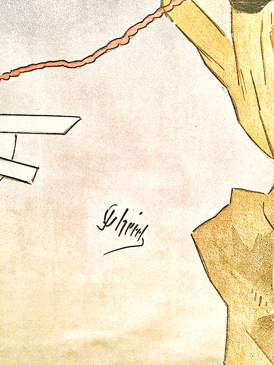 Detail of Cheret's signature on his color lithograph of Theatrophone, 1890.