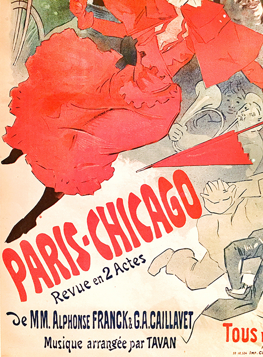Detail of Cheret's 'Paris-Chicago', color lithograph, 1893. Expressive typography - lots of personality!