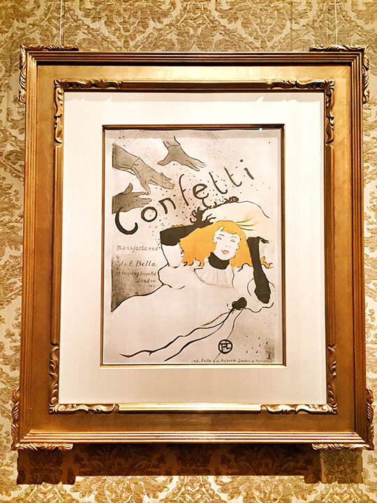 Toulouse-Lautrec, Confetti, color lithograph, 1894. Fantastic economy of line, but that IS Toulouse-Lautrec's work ... he gives you exactly what you need. Nothing more. This is an ad LITERALLY for confetti, believe it or not.