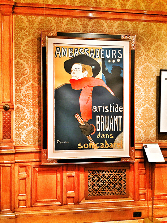 Toulouse-Lautrec, Ambassadeurs - Aristide Bruant, color lithograph, 1892. Another iconic image ... big, bold main figure, striding along with his cane and bright red scarf. Monsieur Bruant was a hipster in his time and this poster served as street promotion for his shows. The typography is a bit rough and naive, in particular the top text, but it does work as a whole.