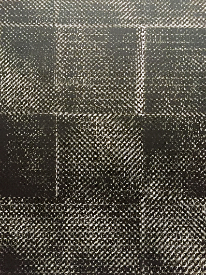 Detail of Glenn Ligon's, Come Out #5, 2014