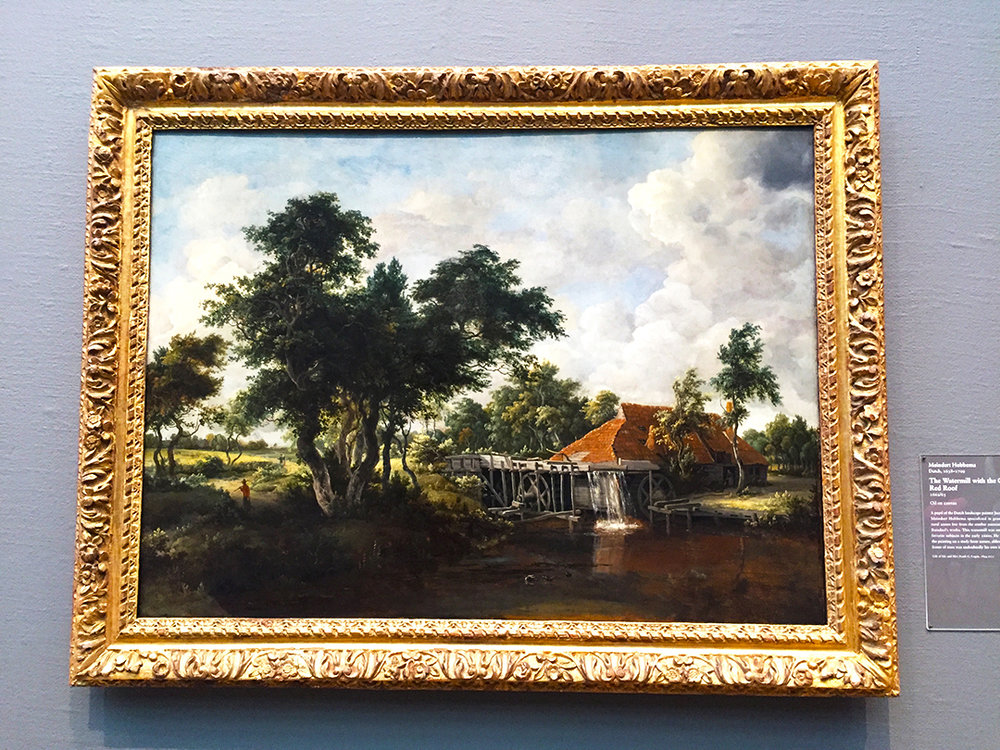The Watermill with the Great Red Roof, Meindert Hobbema, Dutch, 1662/65, oil on canvas.