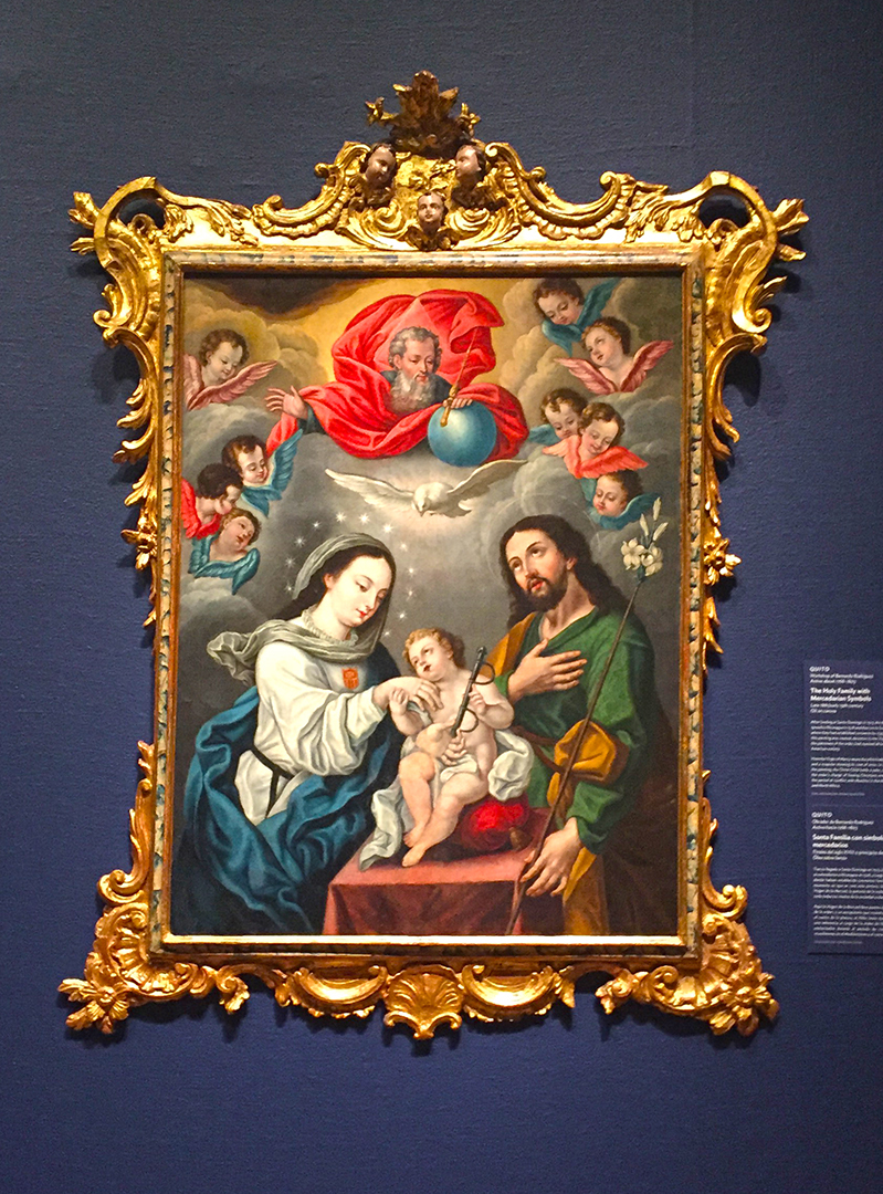 This section of the AIC has a small collection of artwork from South America, aptly named:  A Voyage to South America: Andean Art in the Spanish Empire Exhibition . The Holy Family with Mercedarian Symbols, from the Workshop of Bernardo Rodriguez, Late 18th/early 19th century, oil on canvas.