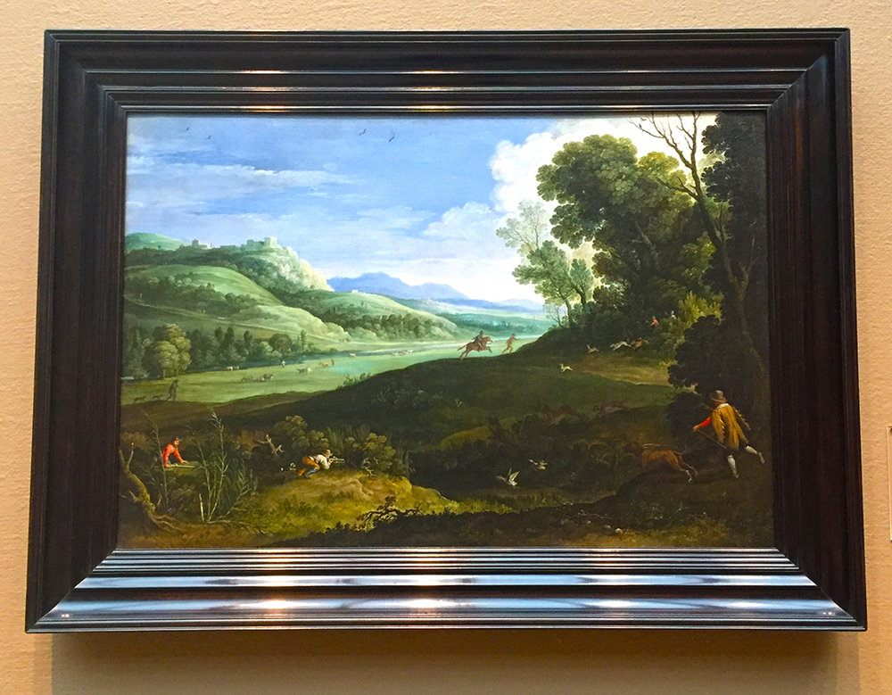 Landscape with Hunters, Paul Bril, 1619, Oil on canvas.