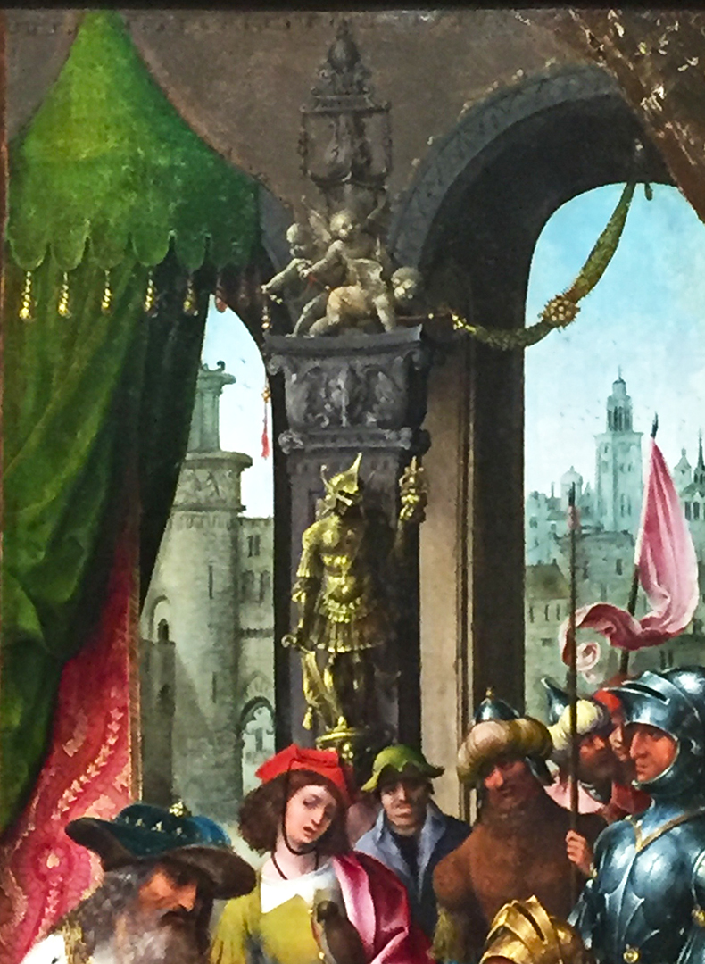 Detail of David Receiving the Cistern Water from Bethlehem. Look at the gorgeous green of that canopy with tassles! There's SO much going on in this painting, that I could cite 'details of the details'!