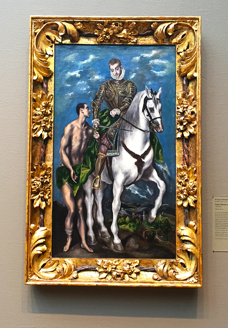 Saint Martin and the Beggar, El Greco (Domenikos Theotokopoulos), 1597/1600, Oil on canvas. The green cloak was given to a poor man from St. Martin, who was a Roman soldier. Later, Martin learned in a dream that the poor man was Christ himself! This was my favorite painting when I was younger visitor at the AIC. In this case, a good deed was rewarded. Beautiful gesture and painting. To date, there's been no one like El Greco in the history of art - he's a brilliant anomaly.