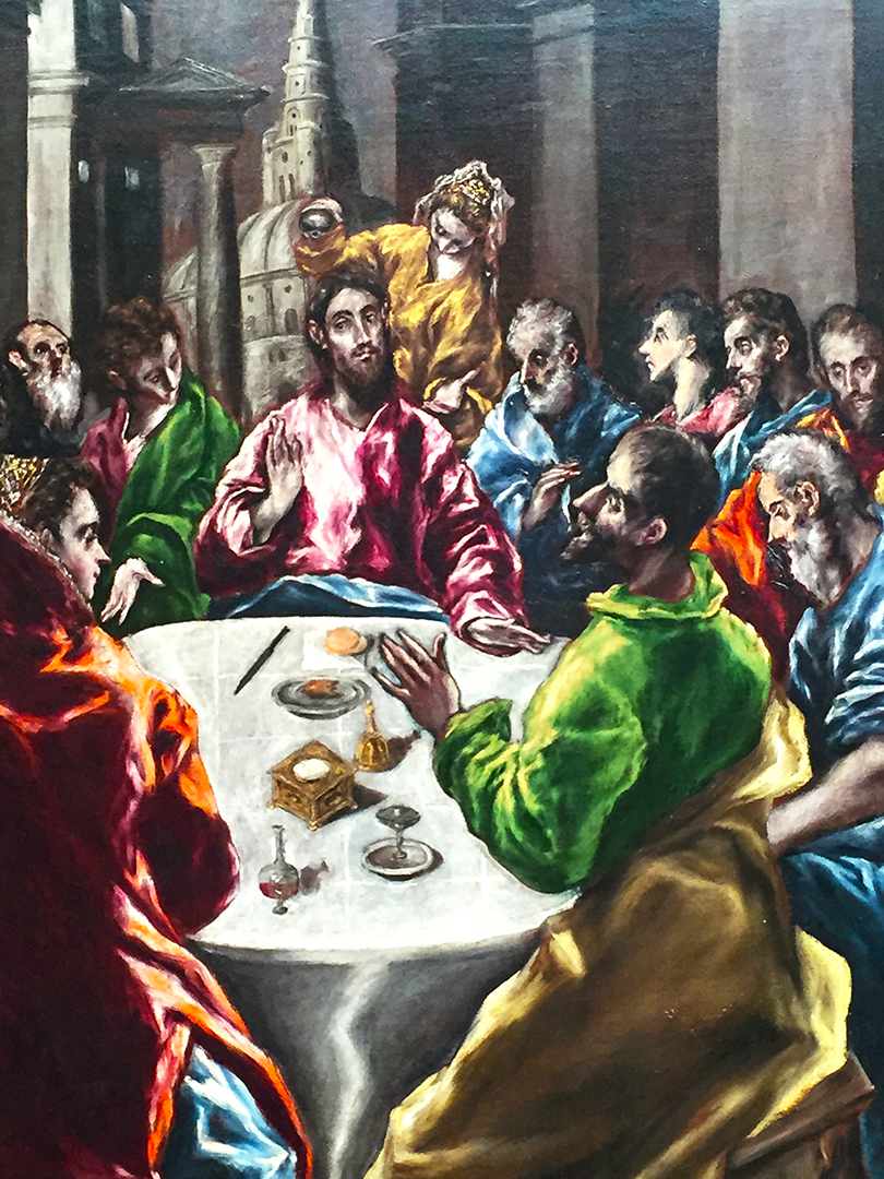 "Detail of The Feast in the House of Simon. The AIC placard reads: 'During a meal in the house of Simon, a repentant woman, often assumed to be Mary Magdalene, anointed Christ with costly oil. Although Simon condemned her wasteful action, Christ commended her faith and the episode came to be associated with the sacrament of penance, whose value was reaffirmed by the Counter-Reformation."" I'm assuming that Simon is the foreground figure dressed in green - his facial expression is very expressive. Apparently, Simon (the Pharisee), was rude to Christ upon his visit to his home and Mary Magdalene was trying to correct his inhospitable behavior."