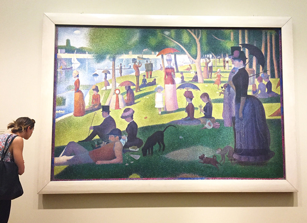 A Sunday on La Grande Jatte – 1884, 1884-86, Oil on canvas. Georges Seurat. This is one of the most famous large-scale painting at the Art Institute of Chicago and it sits in the middle of the museum on the second level. It gets a bit congested with people taking pictures and selfies. The painting is made of painted dots, or, 'pointillism' and the Impressionists loved this technique. Please appreciate all the values of green - which of course, are comprised of yellow and blue dots!