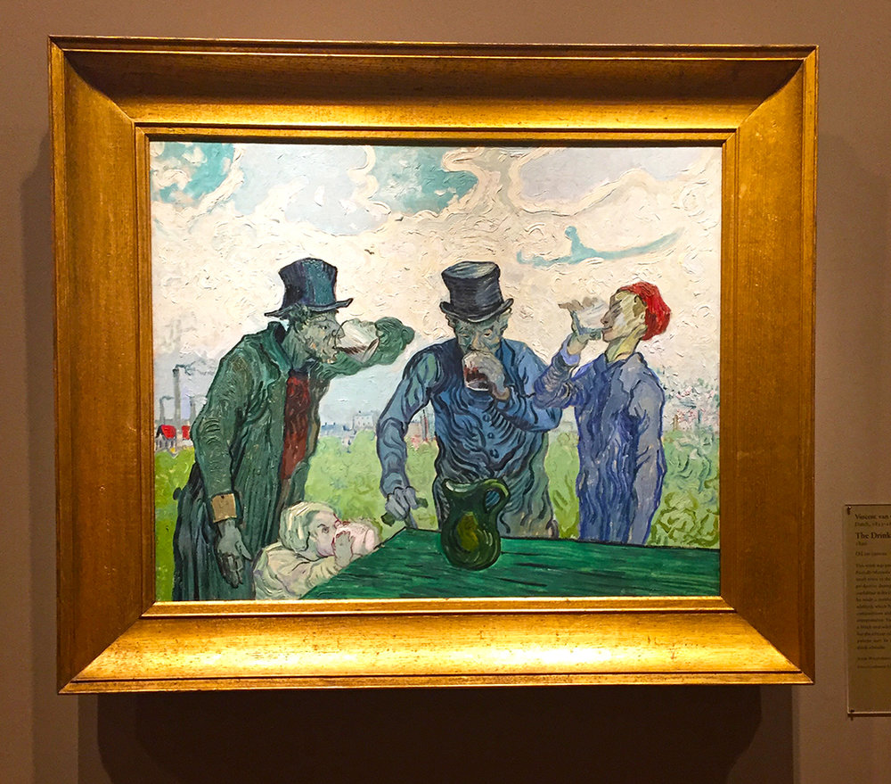 "The Drinkers, 1890. Vincent Van Gogh. Oil on canvas. Apparently, as practice, Van Gogh would copies artwork of the artists that he admired. This image is a knock-off of something that Honore Daumier made earlier. The AIC placard says:  ""The greenish palette may be an allusion to the notorious alcoholic drink absinthe.""  Oh, Vincent!"