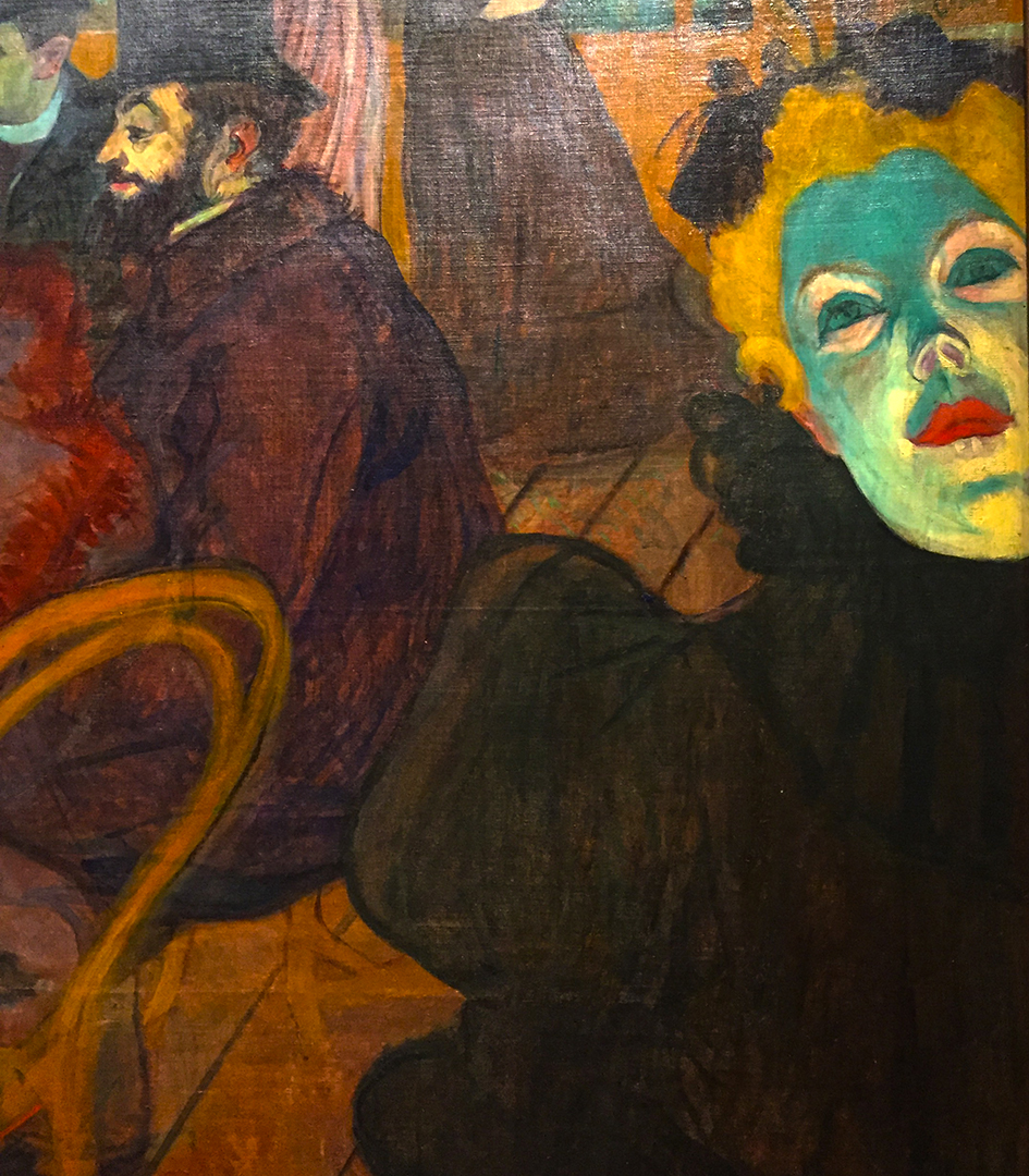Detail of At the Moulin Rouge. You can sort of see the subtle fold in the canvas in which the green-faced woman was cut away. Art is business, let's not kid ourselves.