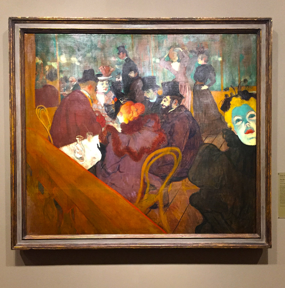 At the Moulin Rouge, 1892/95, Henri de Toulouse-Lautrec. Oil on canvas. The green-faced figure on the right was the singer, May Milton, who figures many times in Toulouse-Lautrec's work. Apparently, someone actually cut that part of the painting, because they felt that her face would scare off a buyer. By 1914, the painting was reassembled.