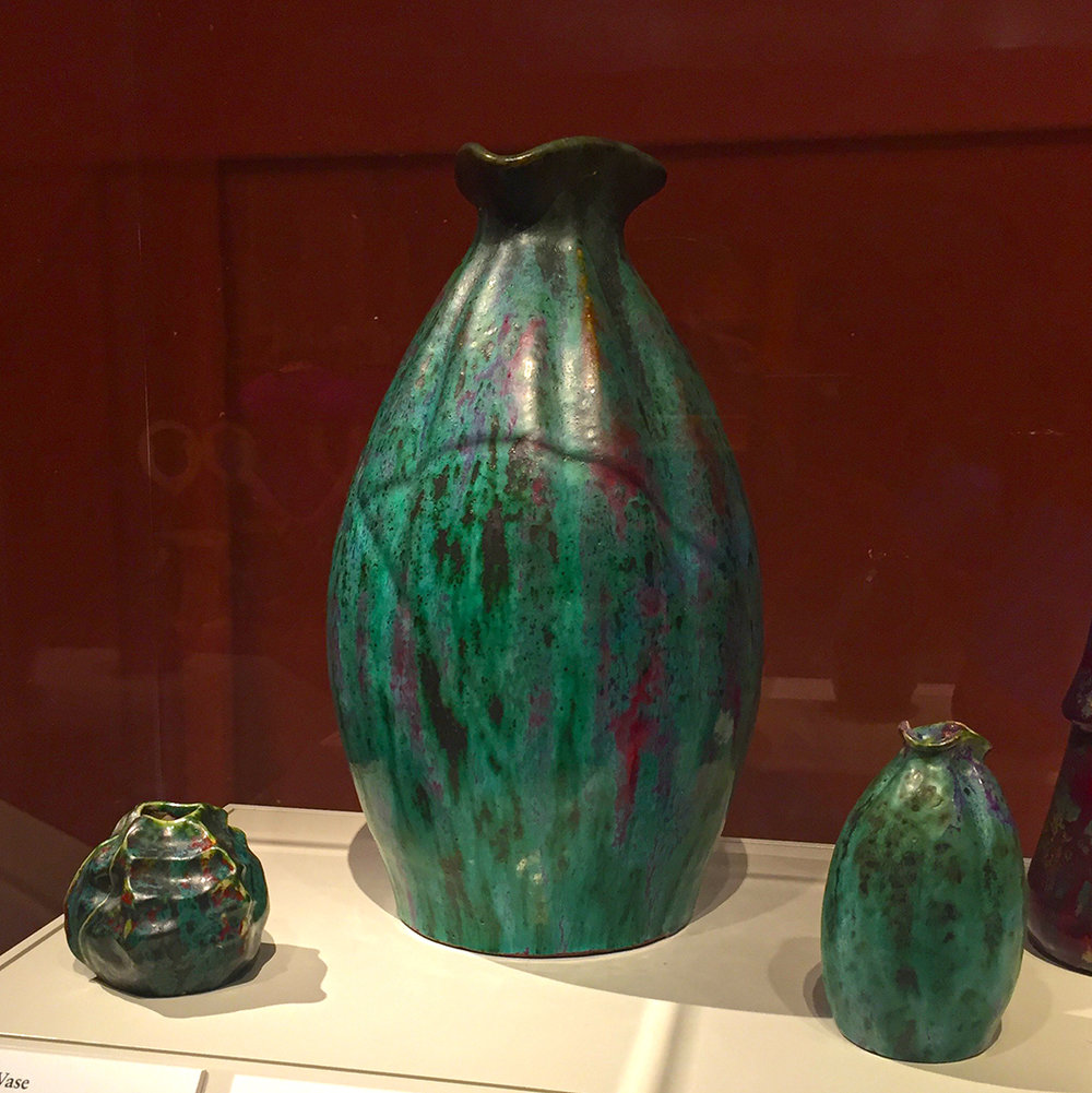 Shell-Form Vase, Vase with Pinched Neck, Vase with Pinched Neck (model for a Large Vase). all three about 1900, glazed stoneware and all created by Adrien-Pierre Dalpayrat.