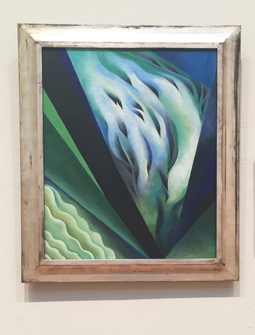 Blue and Green Music, Georgia O'Keeffe, 1921. Oil on canvas. This is a visual representation of O'Keeffe's interpretation of sound/music ... it's really gorgeous in person.