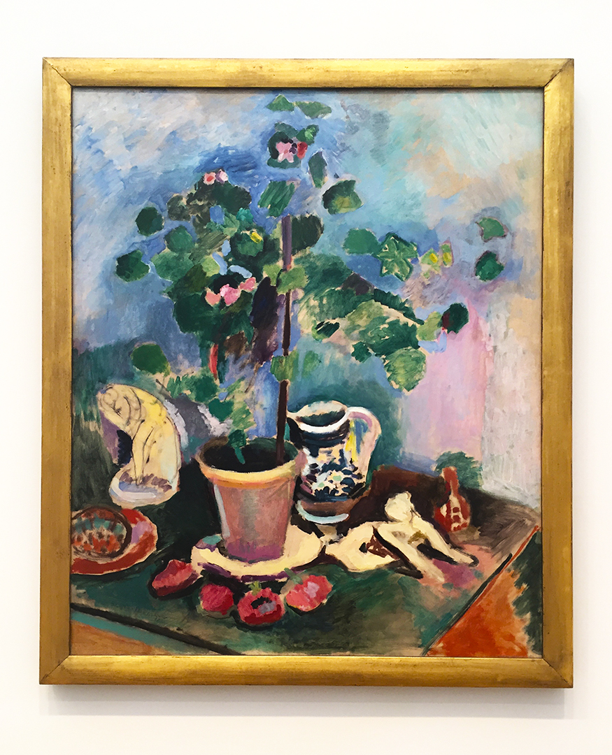 The Geranium, 1906. Henri Matisse. Oil on canvas. While Matisse was painting bouquets of flowers, Picasso is about to launch his career with 'Les Demoiselles d'Avignon' (1907). Hey, someone has to paint the flowers.