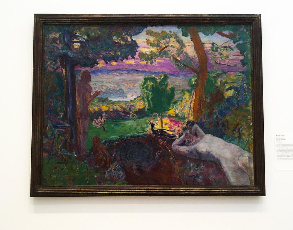 Earthly Paradise, 1916-20. Pierre Bonnard. Oil on canvas. Apparently. Bonnard started to broaden his palette with bolder colors, as he observed Picasso and Matisse artworks. I was struck by these painting by Bonnard, because I was under the impression that his palette was much lighter and in the pastel realm.