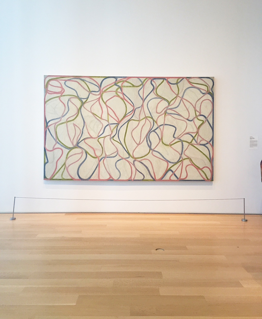 Study for the Muses (Eaglesmere Version), 1991-94, 1997-99. Brice Marden. Oil in linen.  Eagles Mere, Pennsylvania, is where Mr. Marden had his studio and apparently the area is 'overgrown with moss and hemlock'.