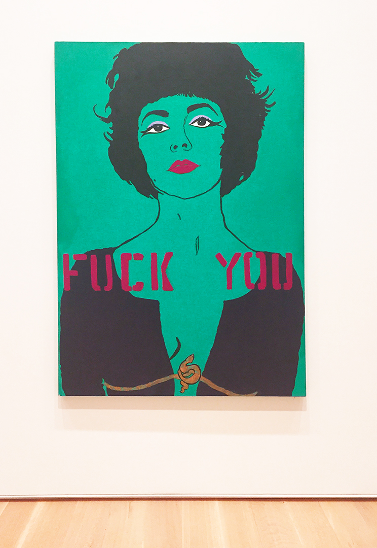 Fuck You: From the Liz Taylor Series (after Bert Stern), 1984. Kathe Burkhart. Acrylic and composition leaf on canvas. This is a recent acquisition and every time I see it, I laugh.