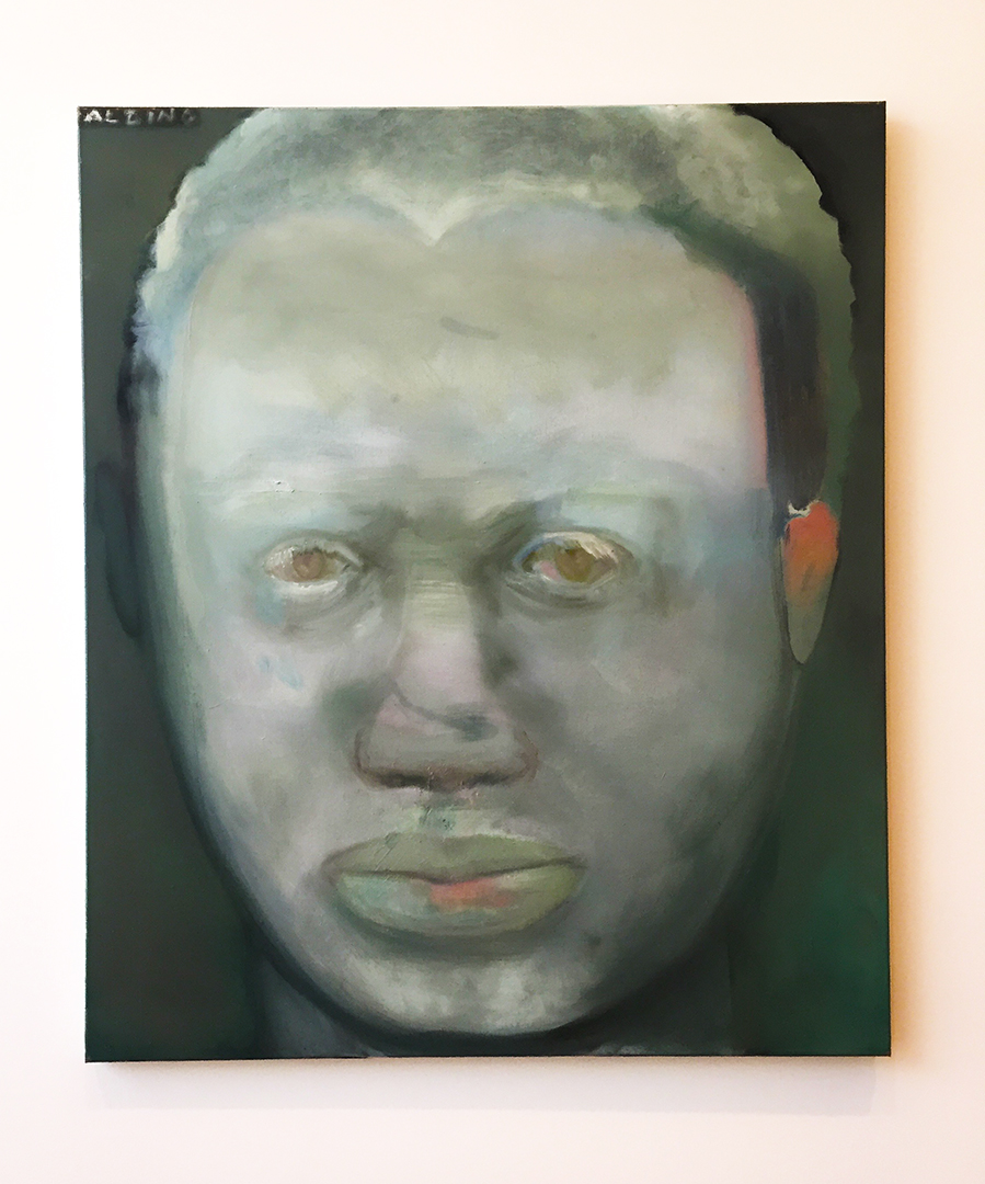 "Albino, 1986. Marlene Dumas. Oil on canvas. The AIC descriptions reads: "" This representation of a black African albino suggests that race is a social construct that fails to correspond to idenity. By choosing a subject whose very existence defies conventional racial categories, and by rendering his skin tone and hair color in a sickly green hue, Dumas pictorially destablized the division between black and white."""