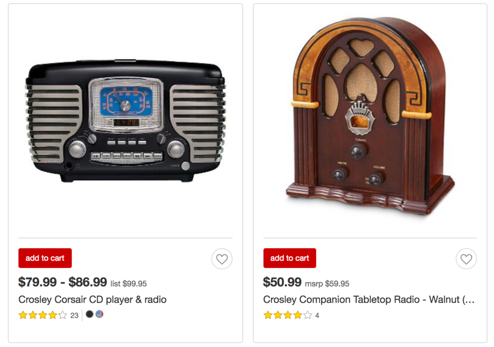 Crosley Radios at Target Stores Today