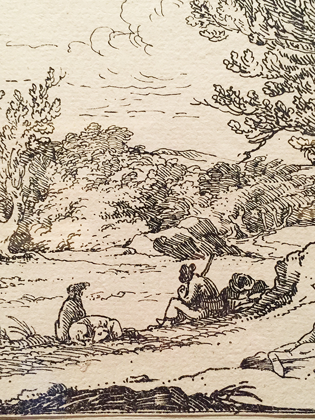 Resting, Men and Dogs Under a Big Tree, from the first issue of Specimens of Polyautography (Detail)