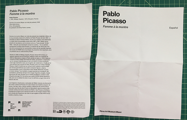 The PAMM flyer for Picasso's Femme á la montre, 2018.
