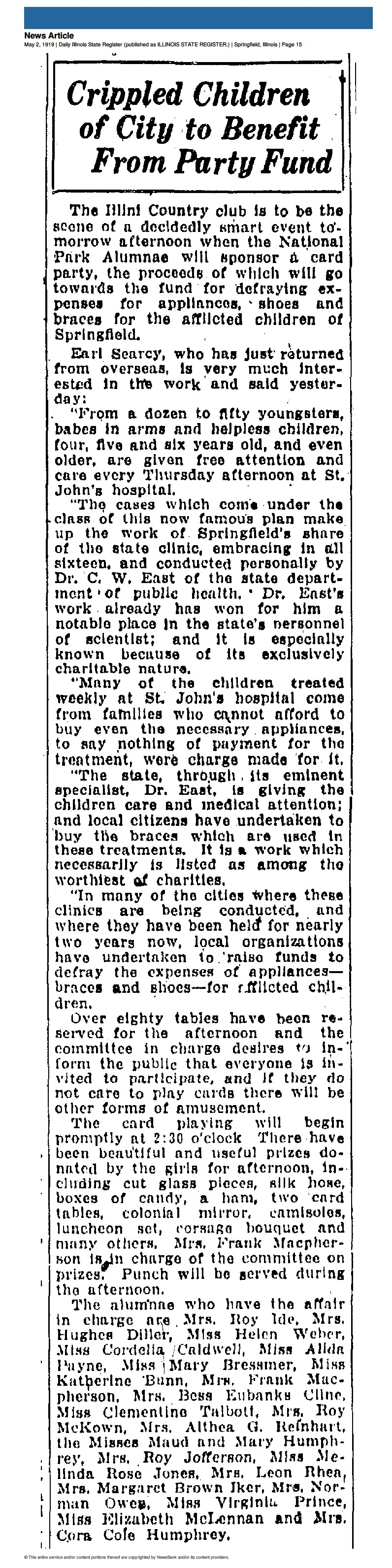 Crippled Children of City to Benefit - May 2, 1919 - IL St Register.jpg