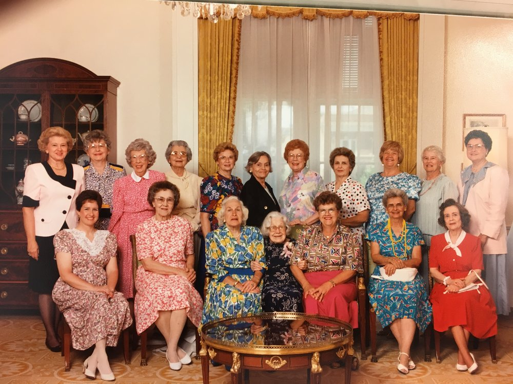 Willing Circle - 1st Row (Left to Right): Jan Knuckey, La Verda Wenzel, Evelyn Farris, Jeanette (Jan) O'Brien, Mina Bentsen, Velma McGee, Barbara Farris2nd Row (Left to Right): Helen Lambert, Myrtle Brady, Gladys Gewe, Fern Bryden, Marge Kirschner, Merle White, Anna Mae Goss, Donna Dormire, Barbara Burris, Joan Hall, Lowanda Medley