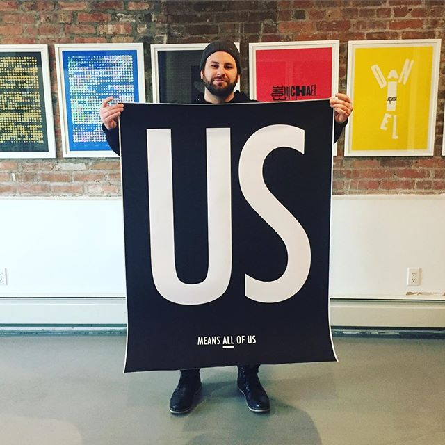 Mike @selmandesign repping with one of the large posters that were just delivered. Look out for them in a borough near you! . . . . . #usmeansallofus #peace #poster #love #unity #lovetrumpshate #respect #tolerance #diversity #together #unitedwestand #unitedstates #america #usa #us #resist #activism #humanrights #womensrights #lgbtrights #blacklivesmatter #nyt #nyc #brooklyn #design #graphicdesign #art #artwork #change