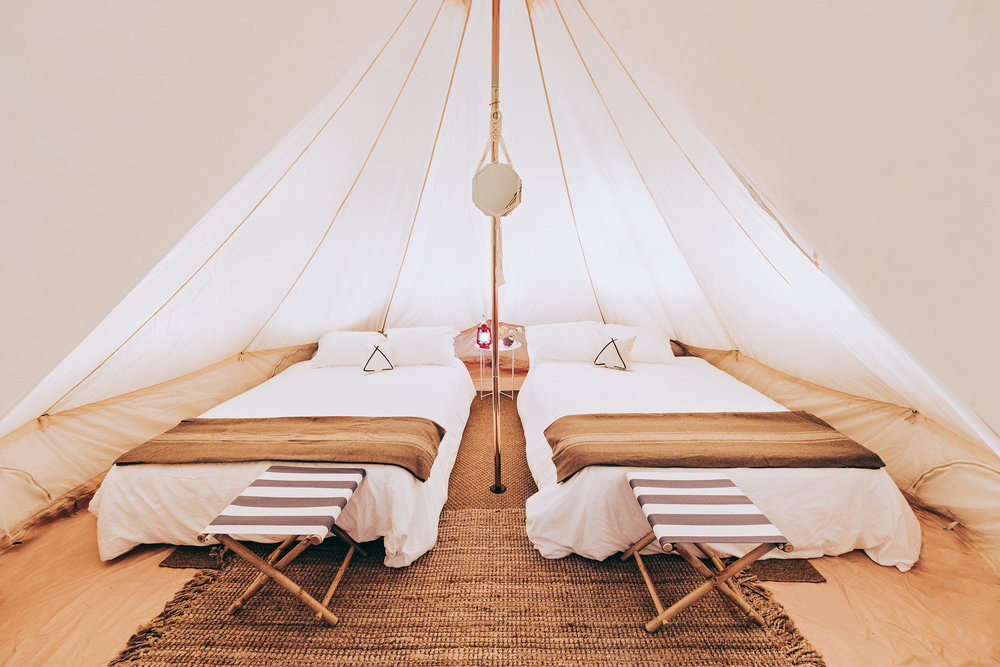 Add a 2nd QUEEN  bed to your bell tent