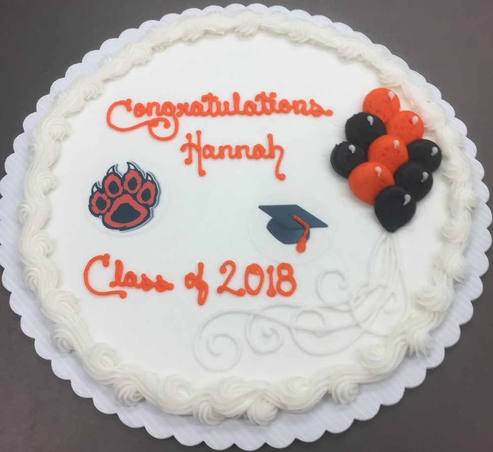 Simple Grad design with balloons & edible image cap and Wildcat Paw  - If you want your school represented, please send image file to info@craigscakeshop.com)