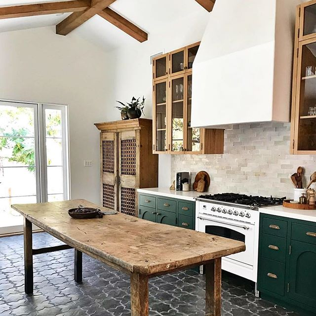 You guys! This kitchen!! This is what all of our green cabinet, rustic but modern, beautiful tile dreams are made of 😍😍😍 @taylorandtaylor__ nailed this one 👌🏼