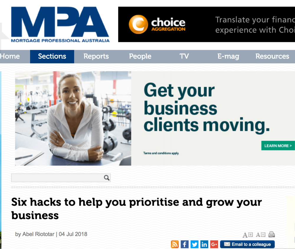 six hacks to help you prioritize and grow your business  There are a number of ways to strike a balance between meeting customer needs and operational work. Prioritisation and delegation are two of the most commonly used. For brokers who struggle on both, Australian Lending and Investment Centre managing director  Jason Back  has some tips to help you get started.