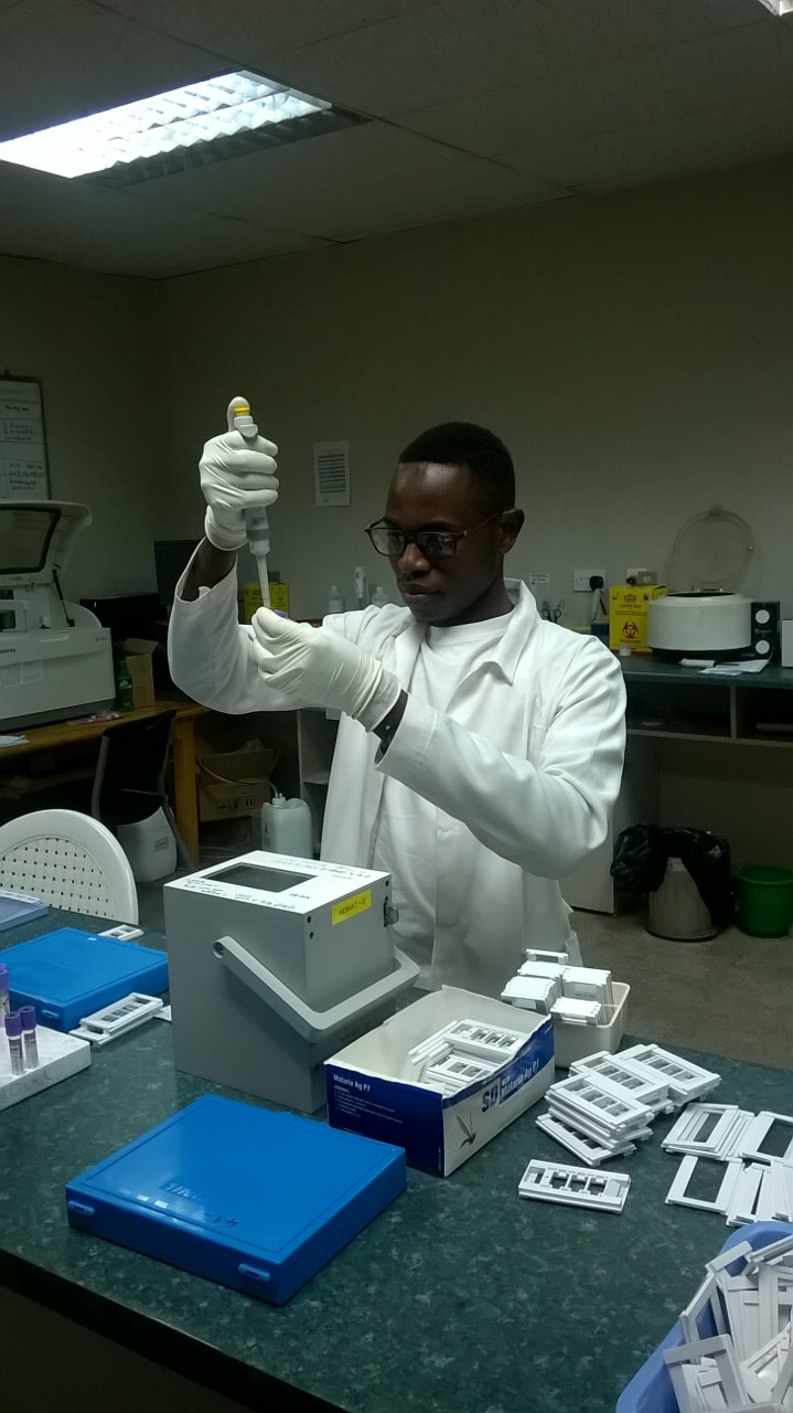 Gabriel, project coordinator in Malawi,  experimenting with AID MAT