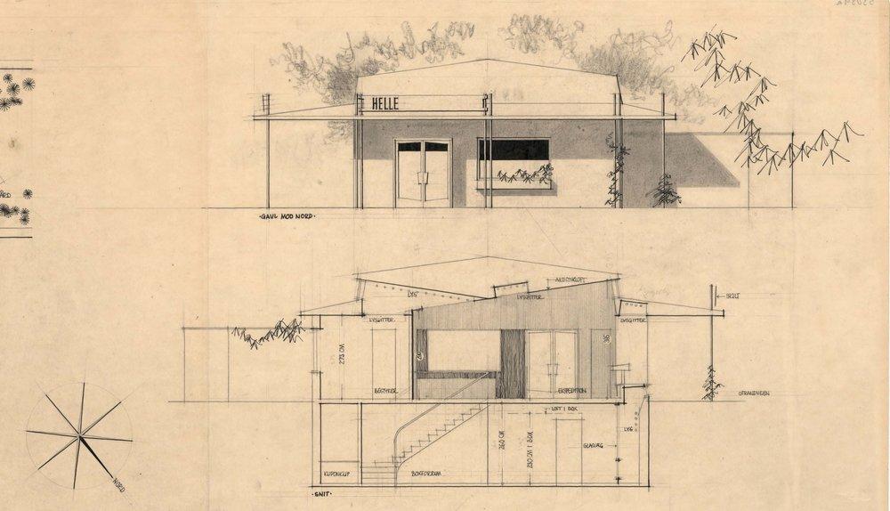 Oprindelige tegninger fra indretningen af banken