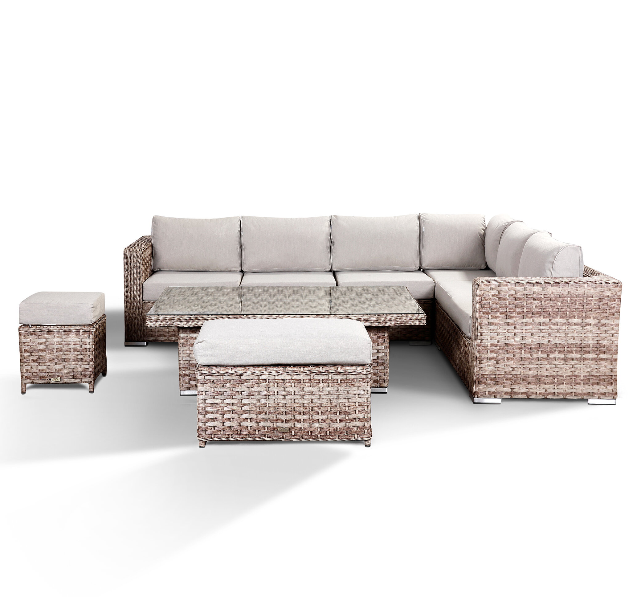 Azure Grey Corner Sofa With Coffee Table And Stools (2018 Model)