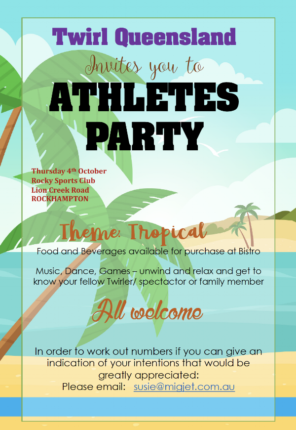 ATHLETES PARTY   7pm - 9pm