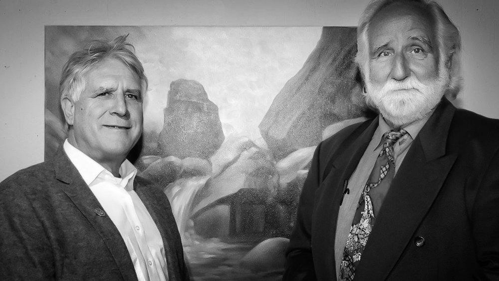 Gemeinsam mit dem Graphiker und Maler Peter Zahrt (rechts)