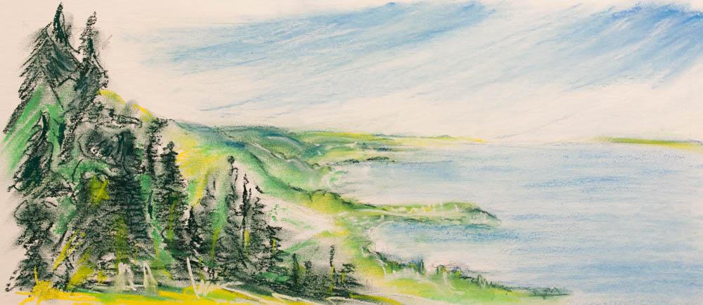 Blick vom Rorschacher Berg. Pastell