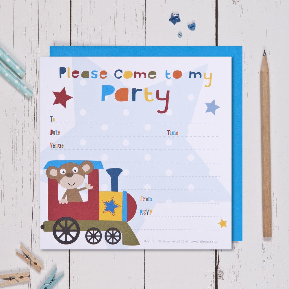 Monkey Train Party Invitations Aliroo