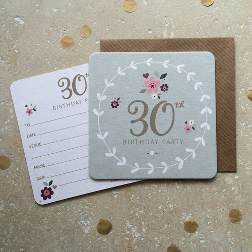 30th Birthday Party Coaster Invitations CO203