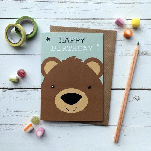 Cute Bear Birthday Card Aliroo